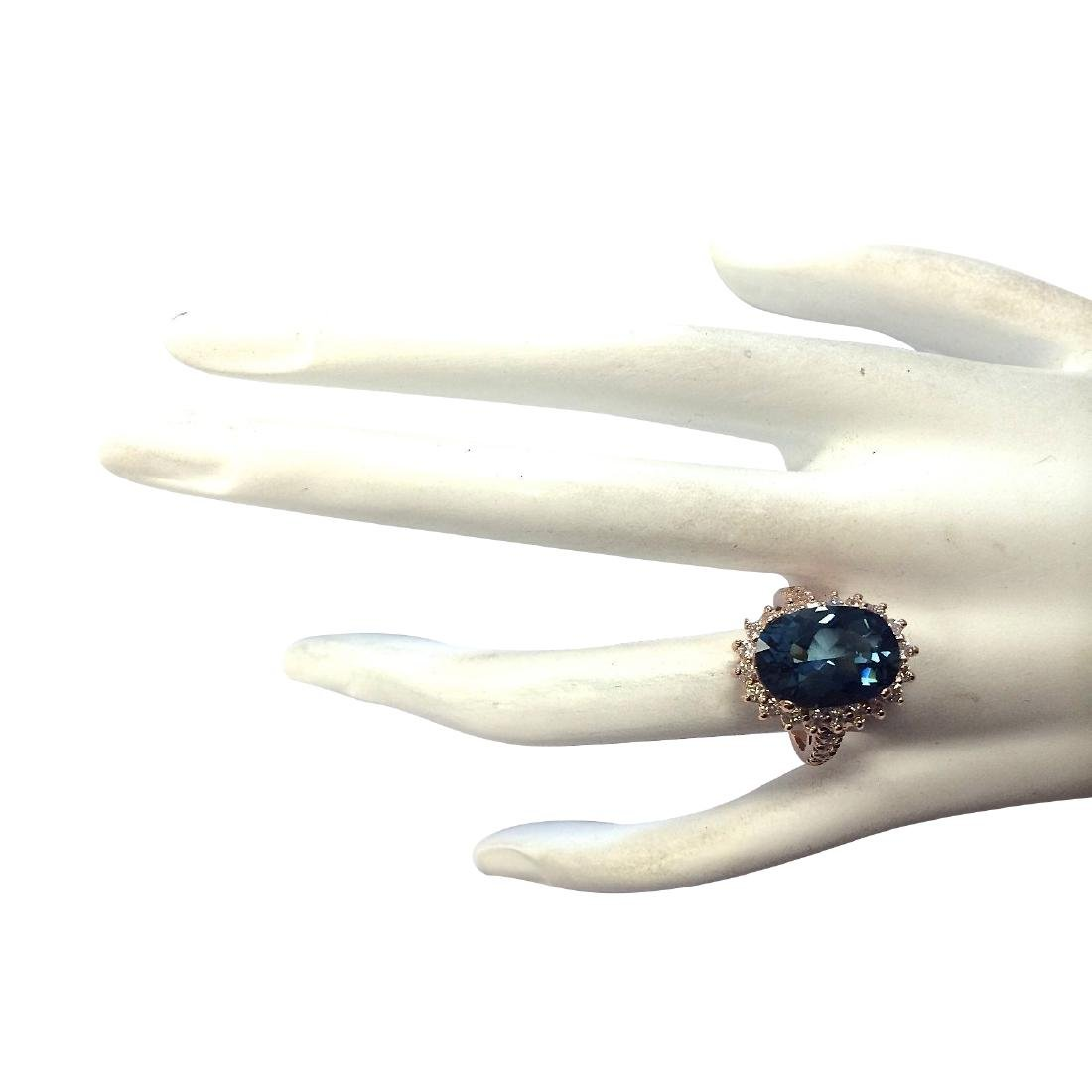 8.34CTW Natural London Blue Topaz And Diamond Ring In - 4