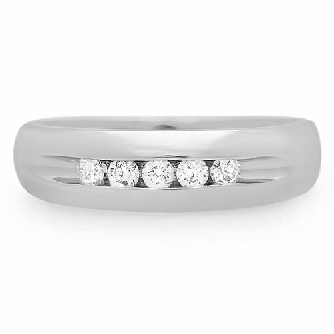 Mens 0.25 Carat Natural Diamond 18K Solid White Gold