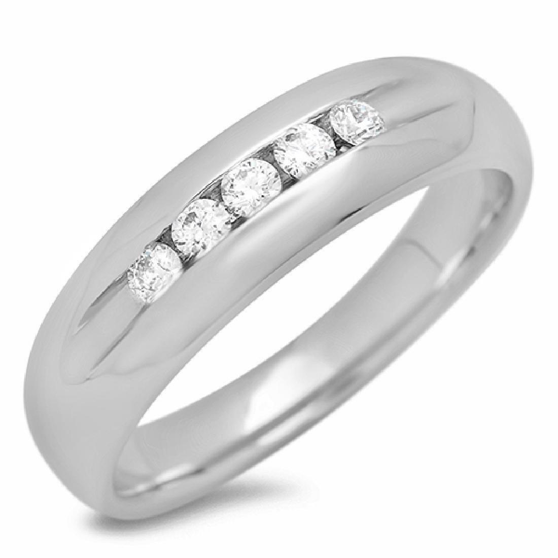 Mens 0.25 Carat Natural Diamond 18K Solid White Gold - 2
