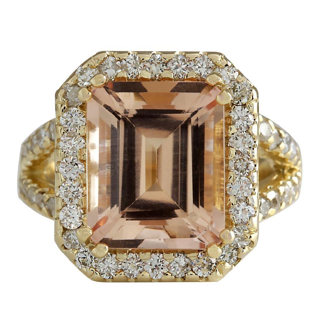 6.92CTW Natural Peach Morganite And Diamond Ring In 18K