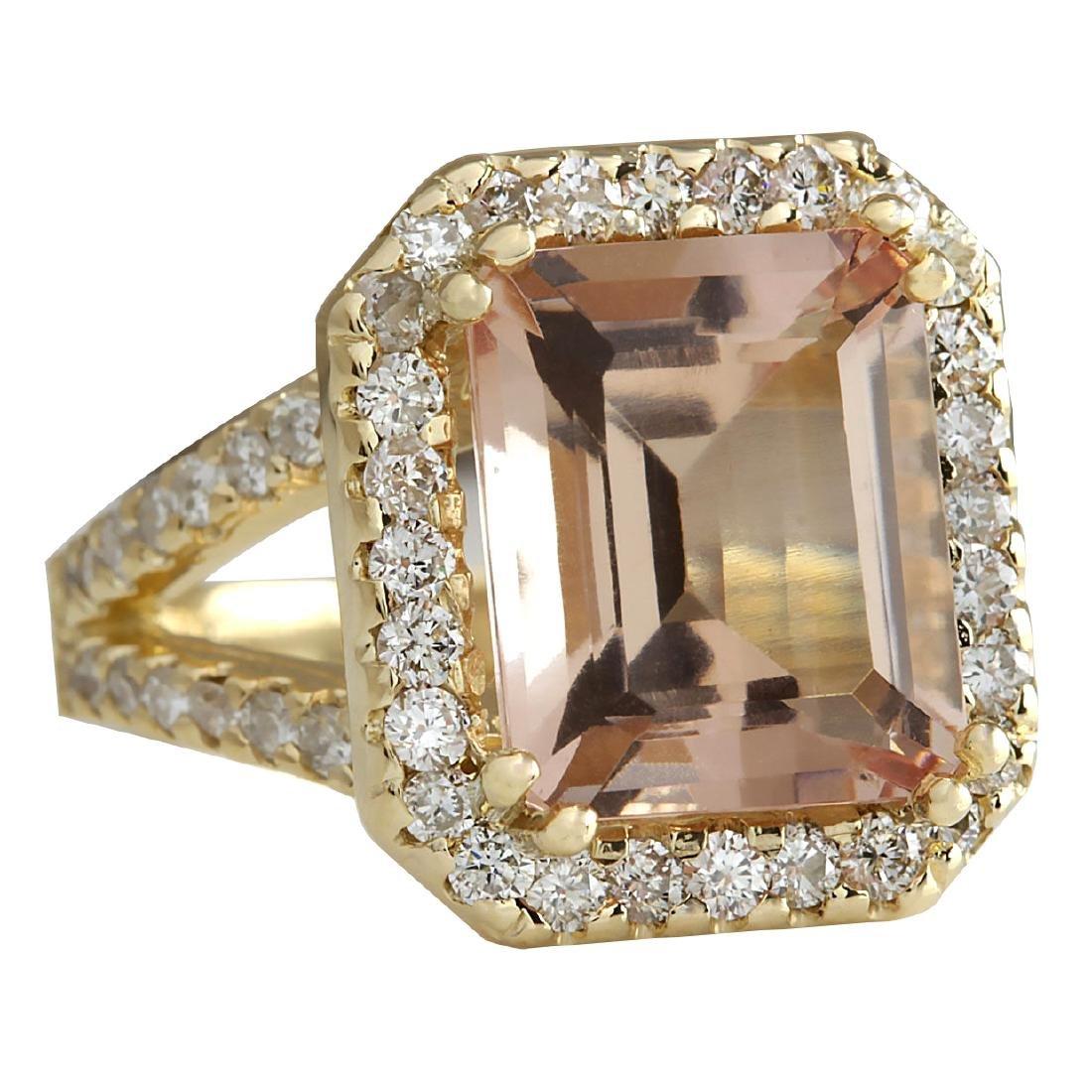 6.92CTW Natural Peach Morganite And Diamond Ring In 18K - 2