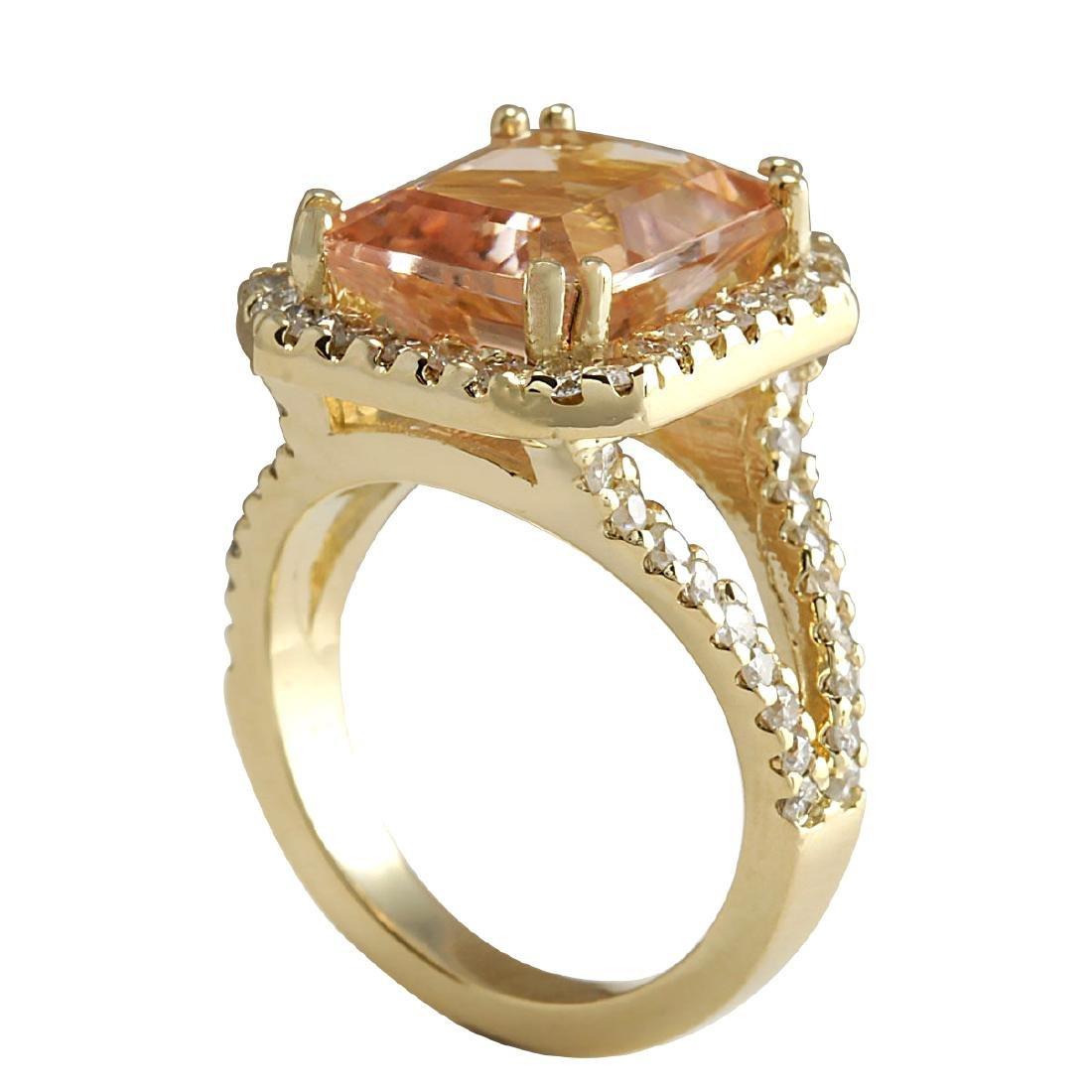 6.92CTW Natural Peach Morganite And Diamond Ring In 18K - 3
