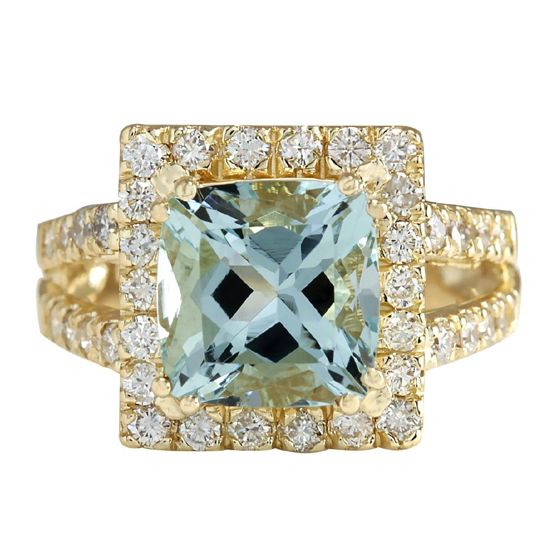 4.13CTW Natural Aquamarine And Diamond Ring In 18K