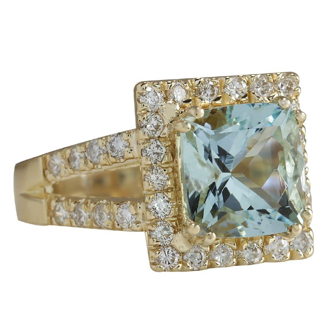 4.13CTW Natural Aquamarine And Diamond Ring In 18K - 2