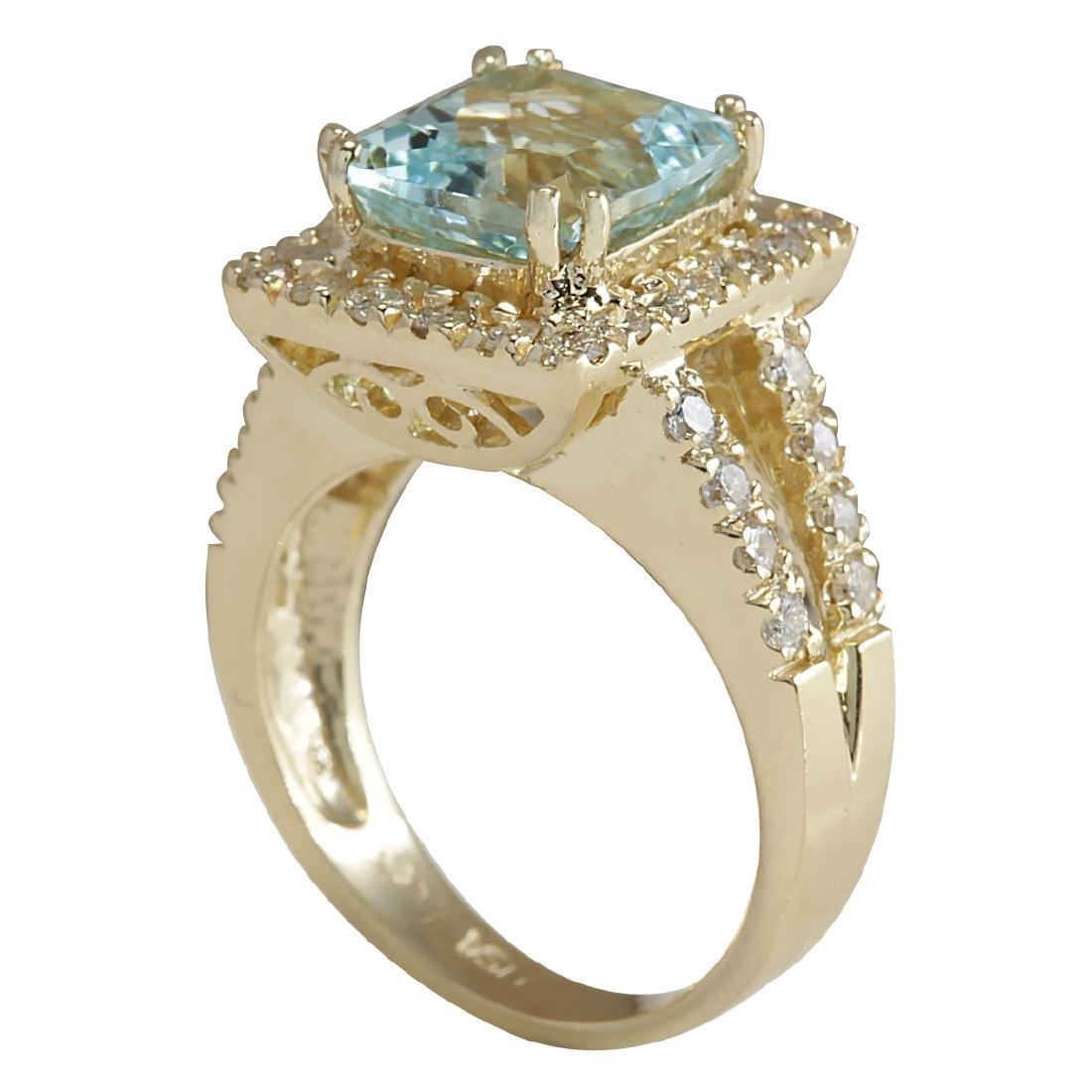 4.13CTW Natural Aquamarine And Diamond Ring In 18K - 3