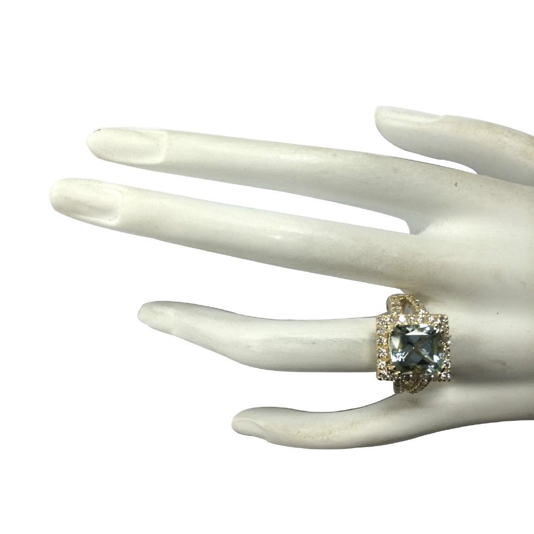 4.13CTW Natural Aquamarine And Diamond Ring In 18K - 4