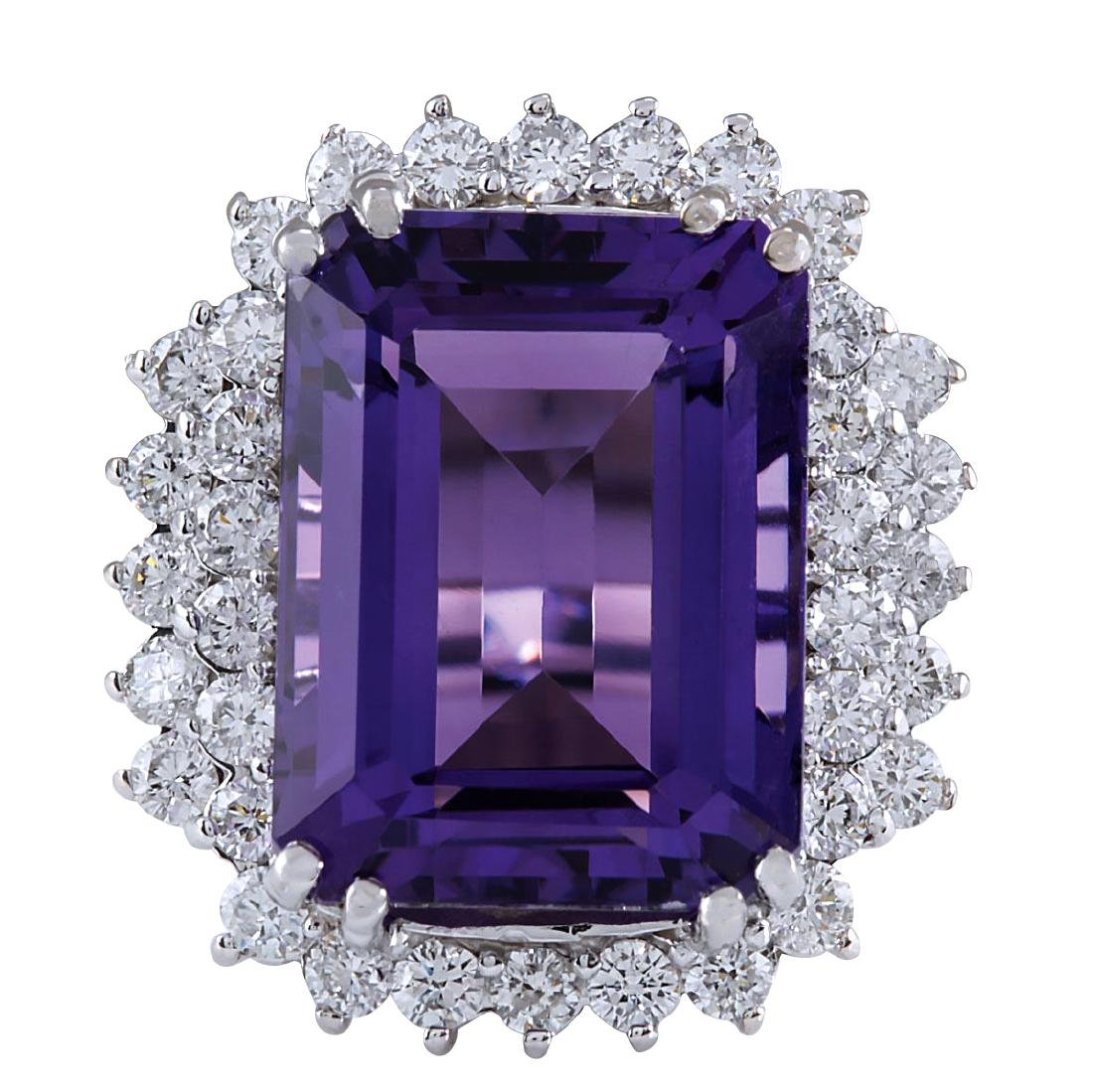 15.12CTW Natural Amethyst And Diamond Ring In 18K Solid