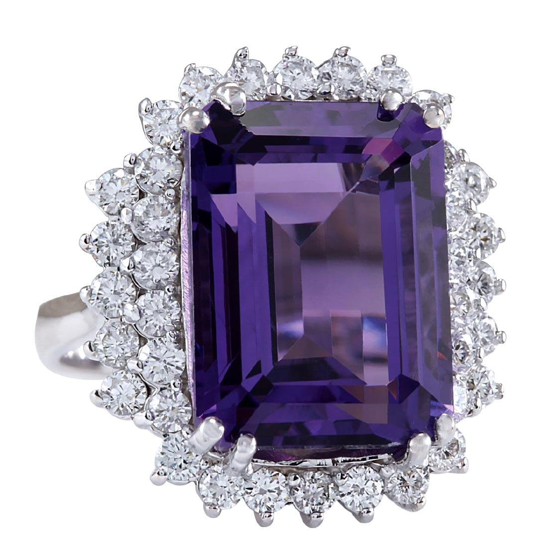 15.12CTW Natural Amethyst And Diamond Ring In 18K Solid - 2