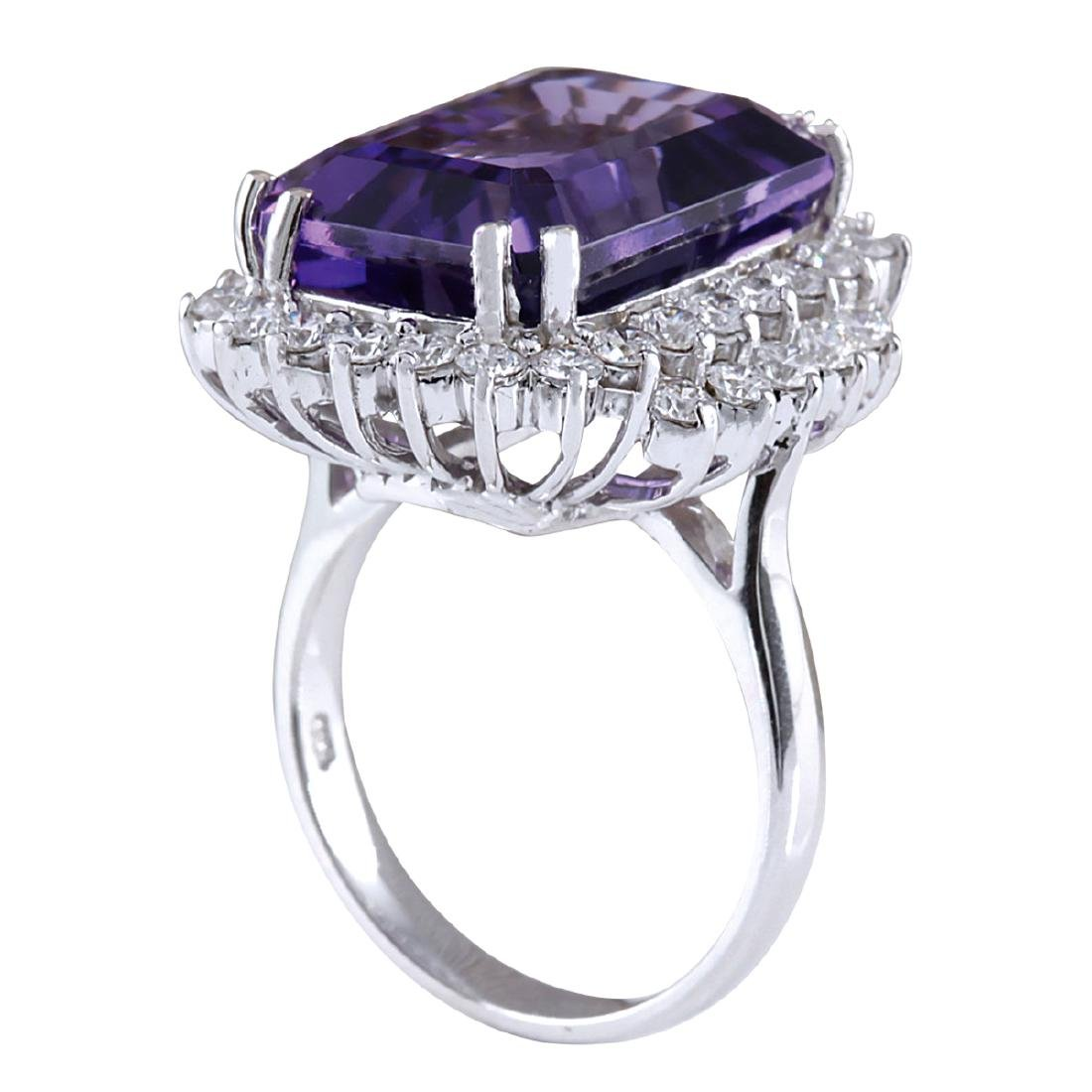 15.12CTW Natural Amethyst And Diamond Ring In 18K Solid - 3
