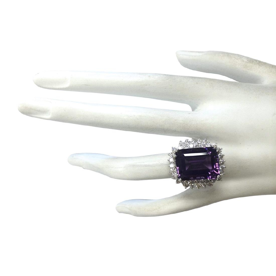 15.12CTW Natural Amethyst And Diamond Ring In 18K Solid - 4