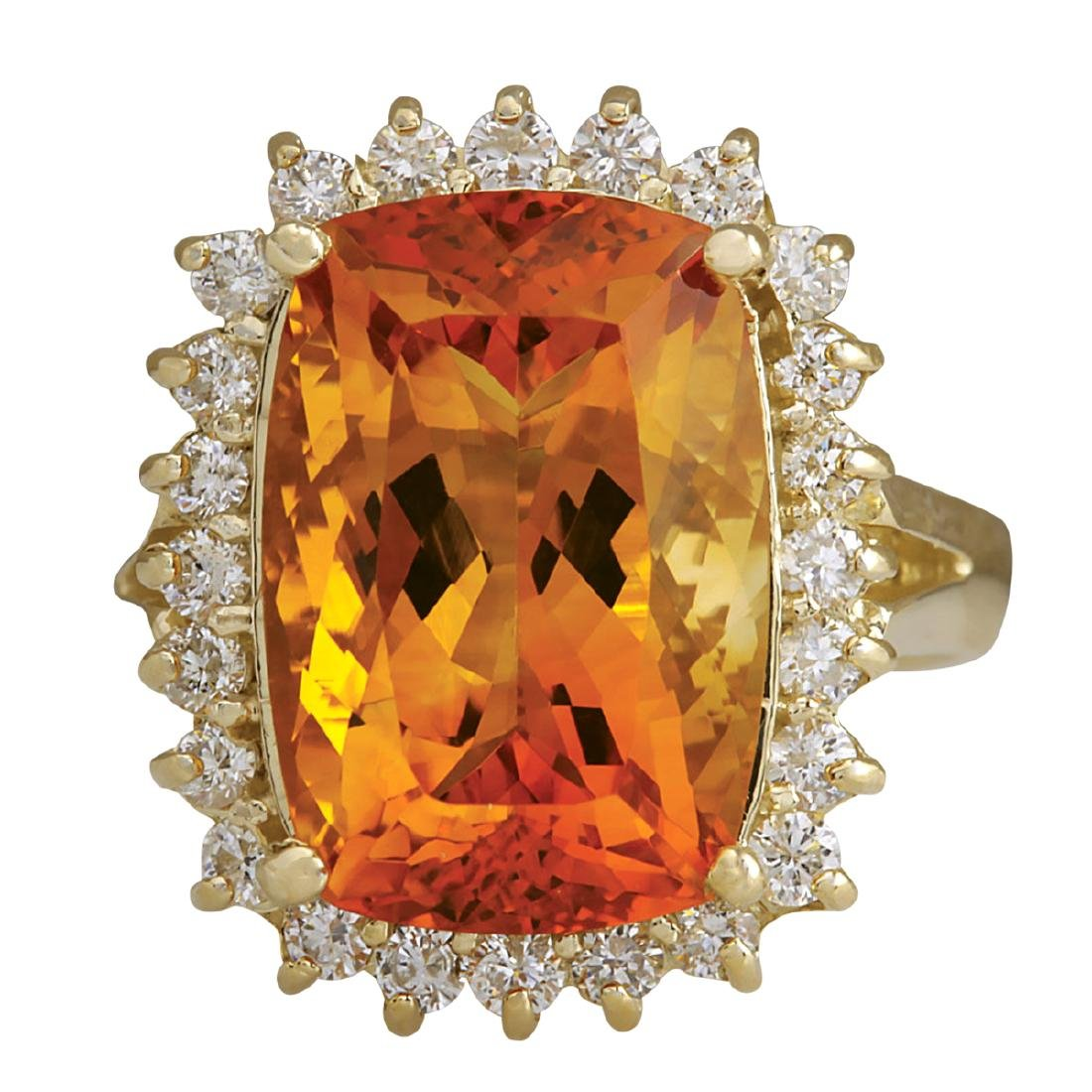 8.87CTW Natural Citrine And Diamond Ring 18K Solid