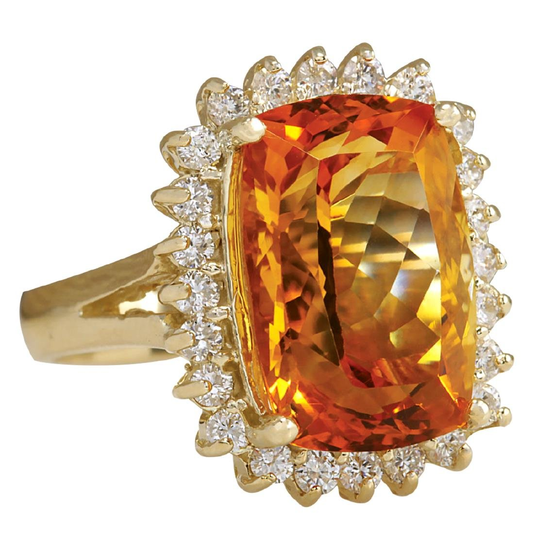 8.87CTW Natural Citrine And Diamond Ring 18K Solid - 2