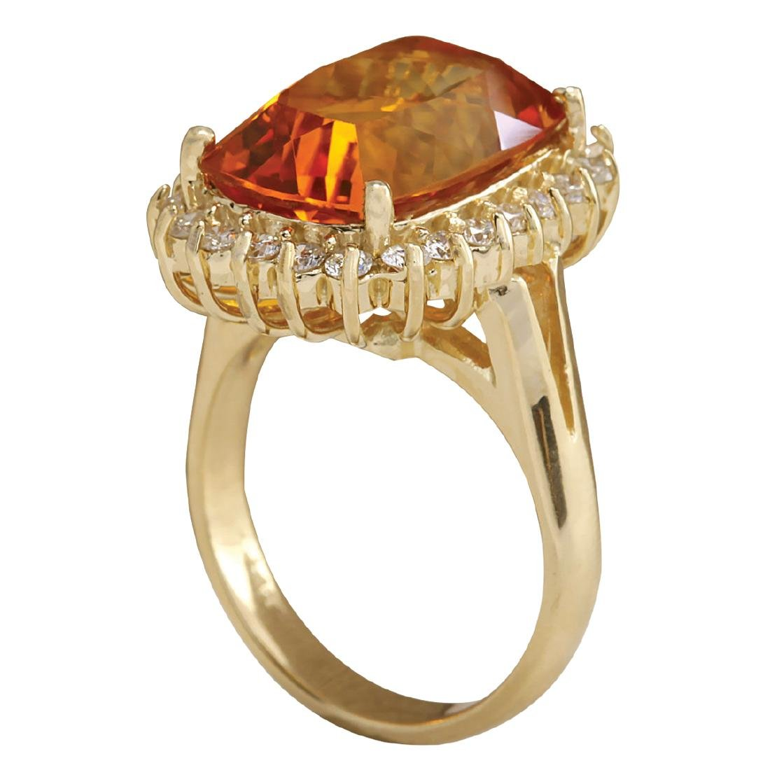 8.87CTW Natural Citrine And Diamond Ring 18K Solid - 3