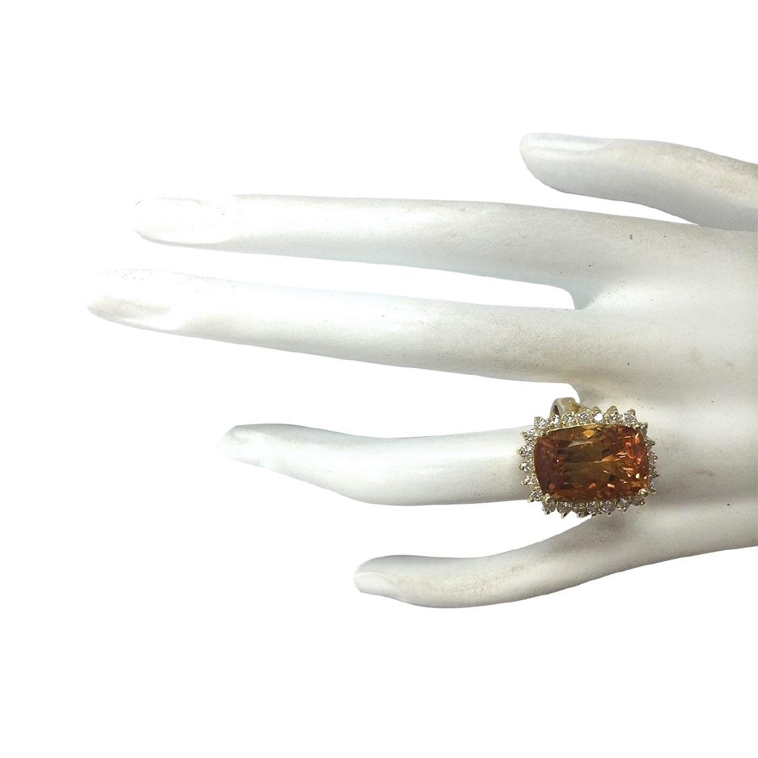 8.87CTW Natural Citrine And Diamond Ring 18K Solid - 4