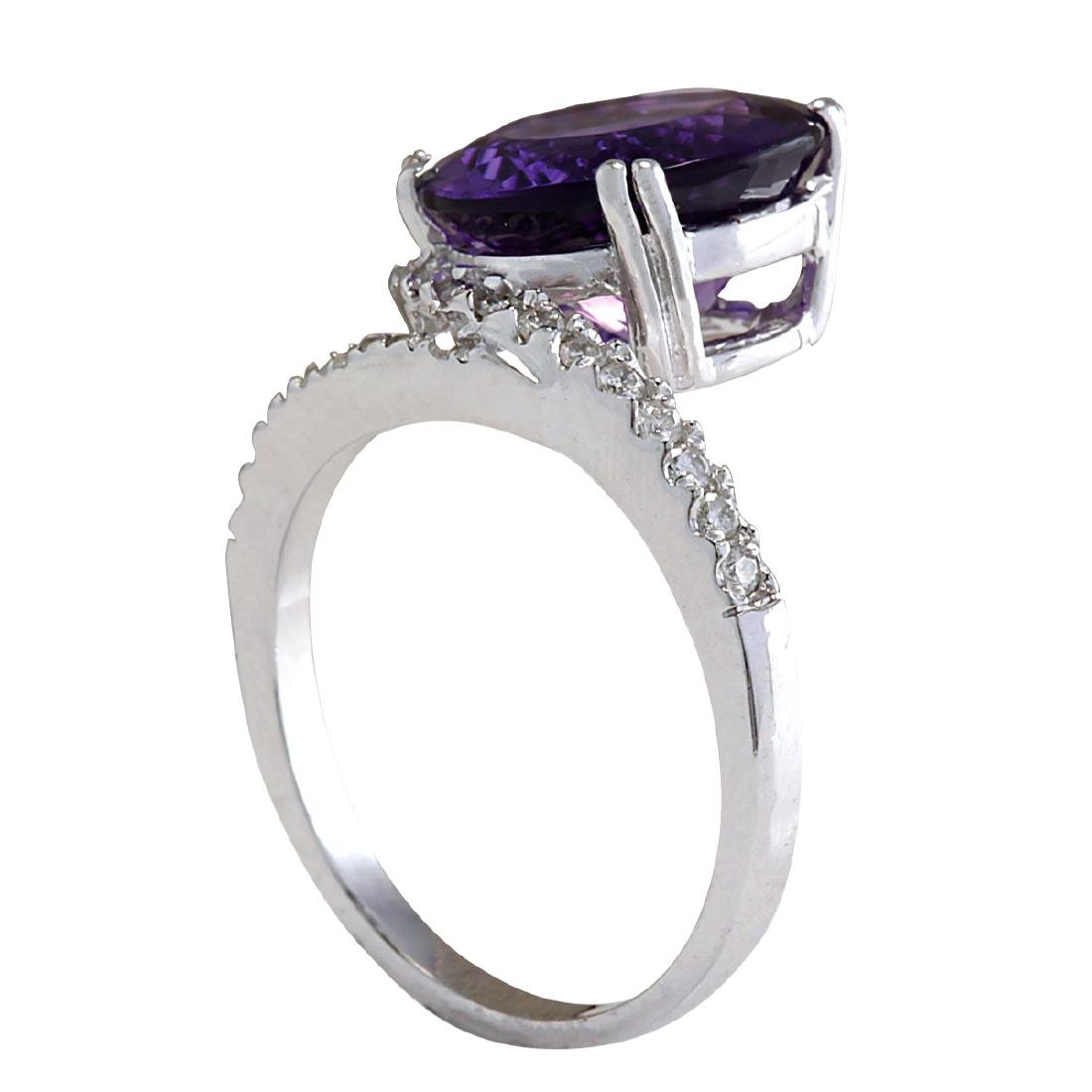 9.22CTW Natural Amethyst And Diamond Ring In 18K Solid - 3