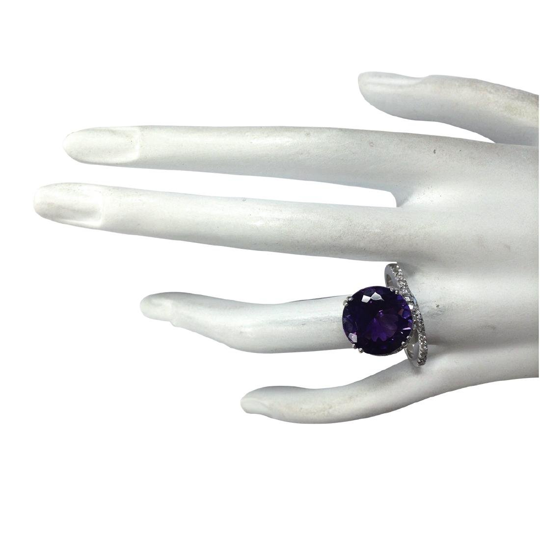 9.22CTW Natural Amethyst And Diamond Ring In 18K Solid - 4