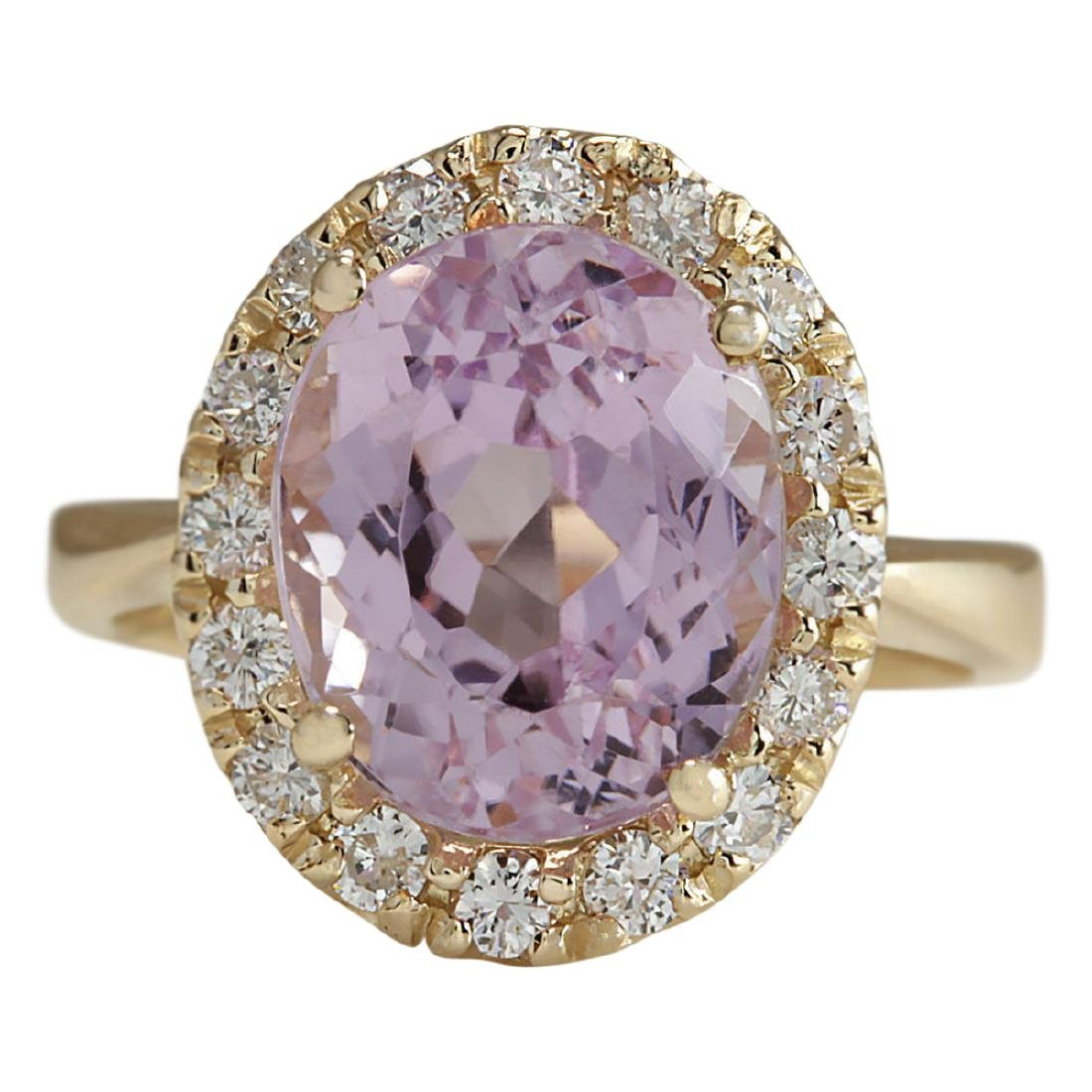 7.06 CTW Natural Kunzite And Diamond Ring 18K Solid