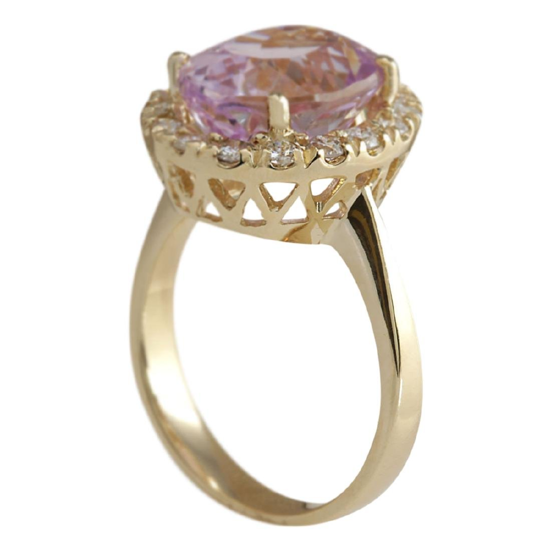 7.06 CTW Natural Kunzite And Diamond Ring 18K Solid - 2