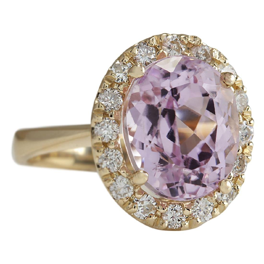 7.06 CTW Natural Kunzite And Diamond Ring 18K Solid - 3