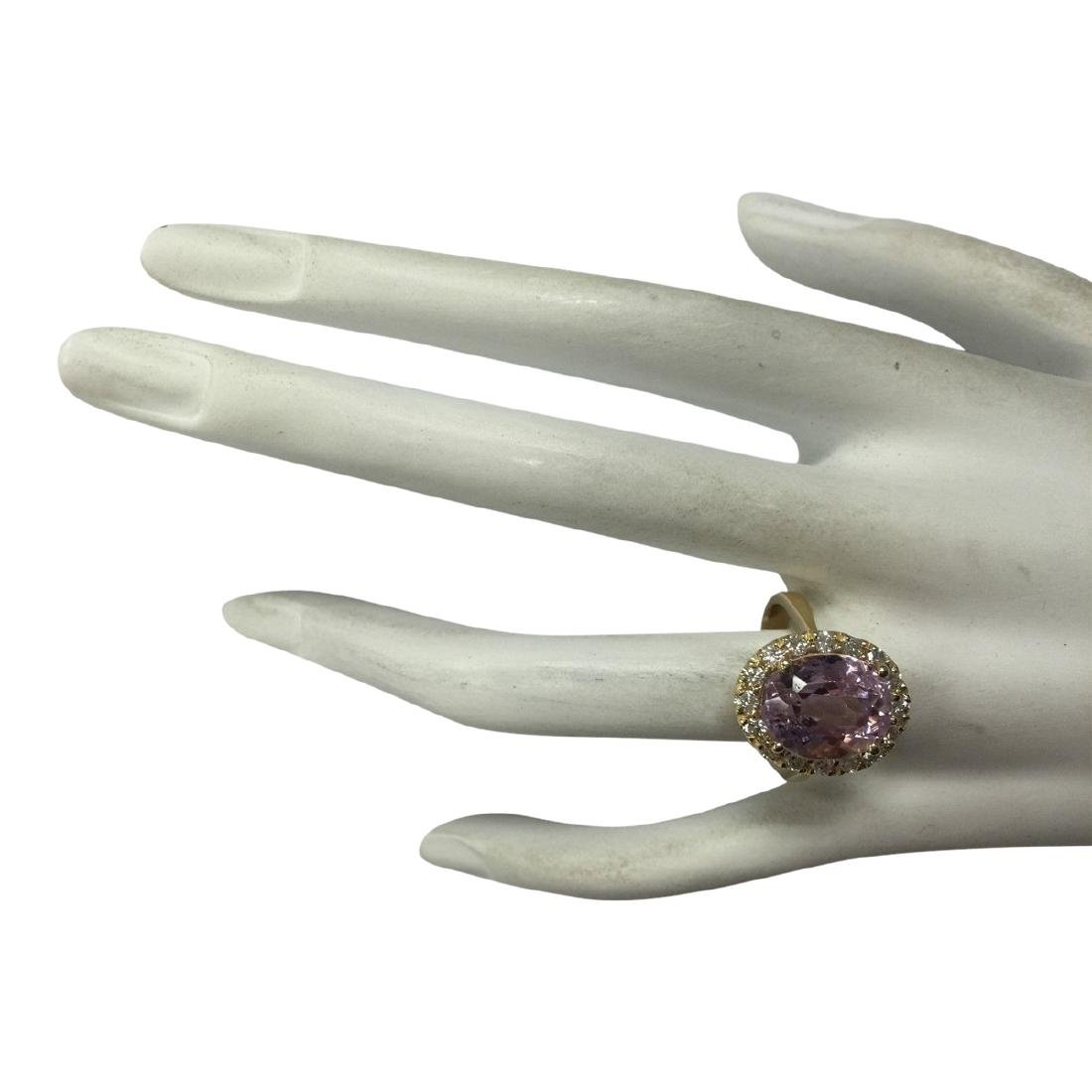 7.06 CTW Natural Kunzite And Diamond Ring 18K Solid - 4
