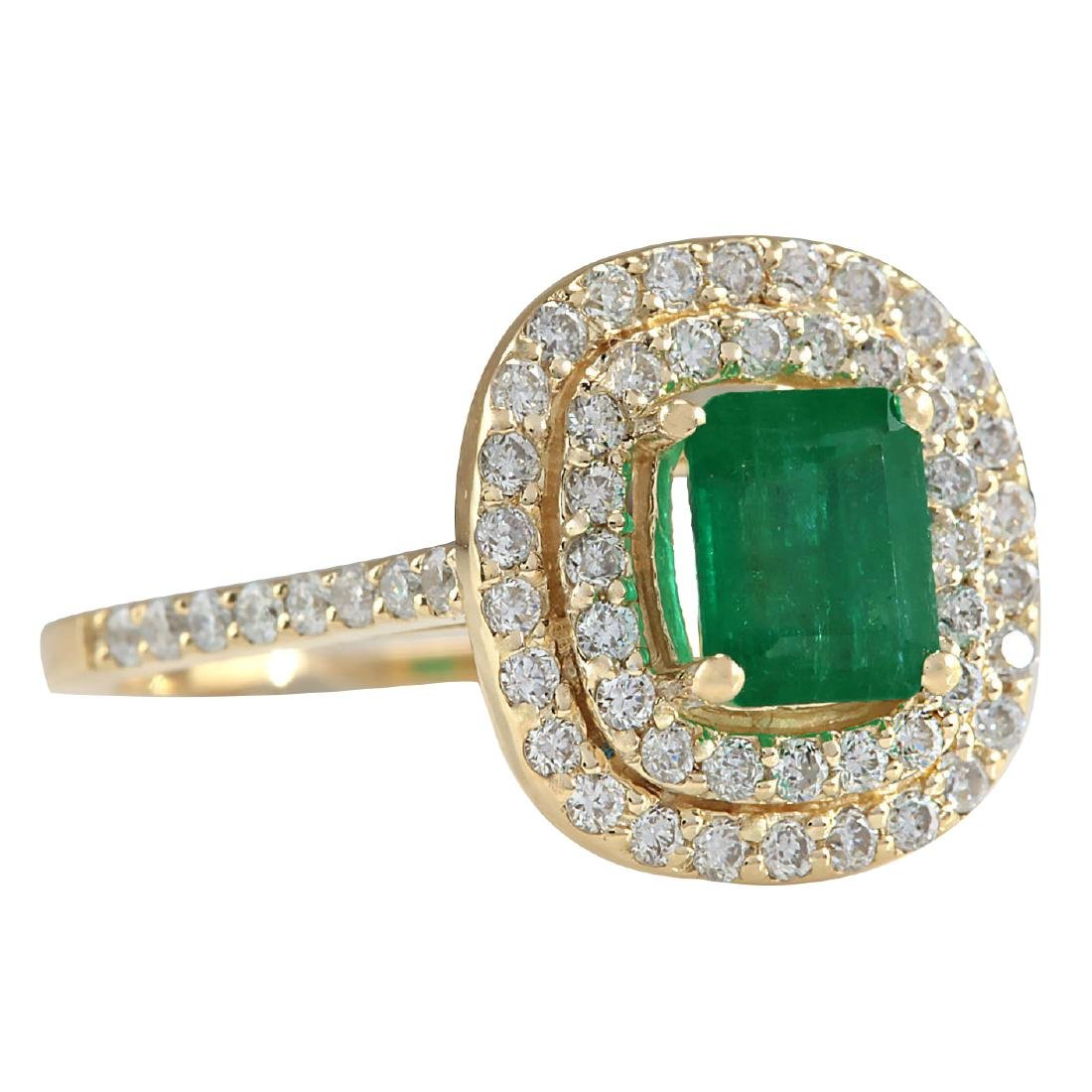 1.96CTW Natural Colombian Emerald And Diamond Ring In - 2