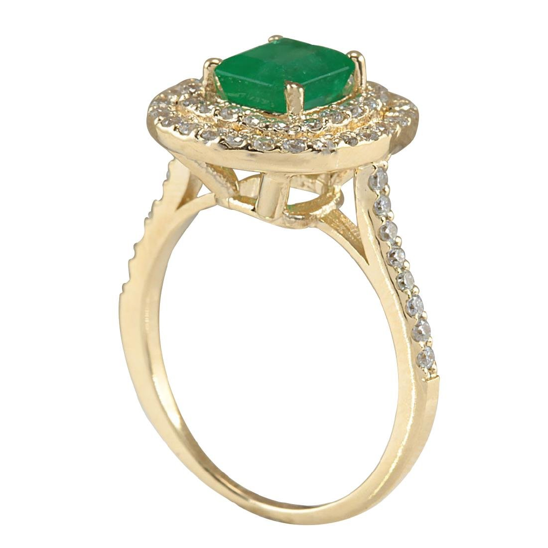 1.96CTW Natural Colombian Emerald And Diamond Ring In - 3