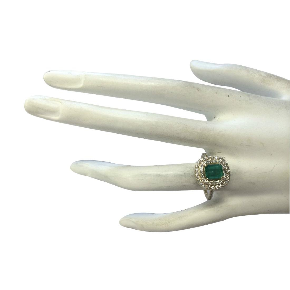 1.96CTW Natural Colombian Emerald And Diamond Ring In - 4