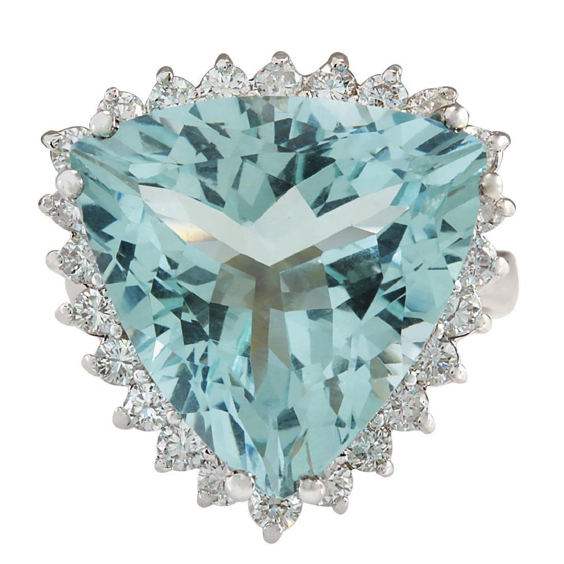 13.62CTW Natural Aquamarine And Diamond Ring In 18K