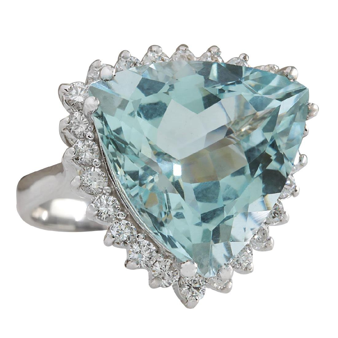 13.62CTW Natural Aquamarine And Diamond Ring In 18K - 2