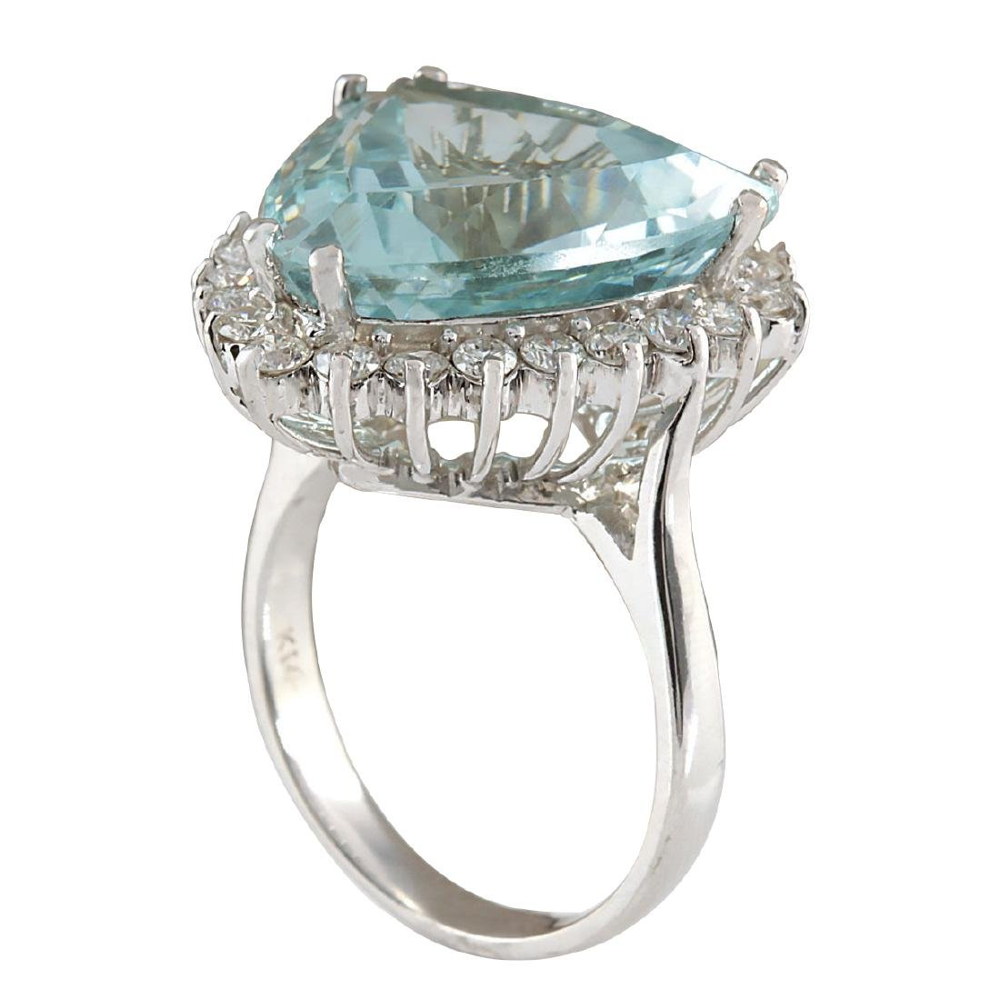 13.62CTW Natural Aquamarine And Diamond Ring In 18K - 3