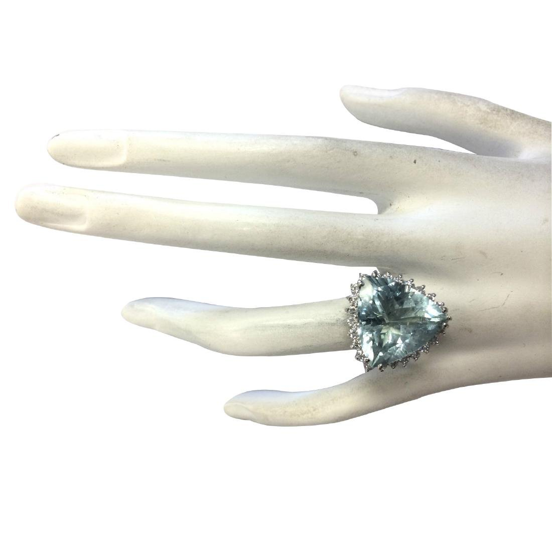 13.62CTW Natural Aquamarine And Diamond Ring In 18K - 4