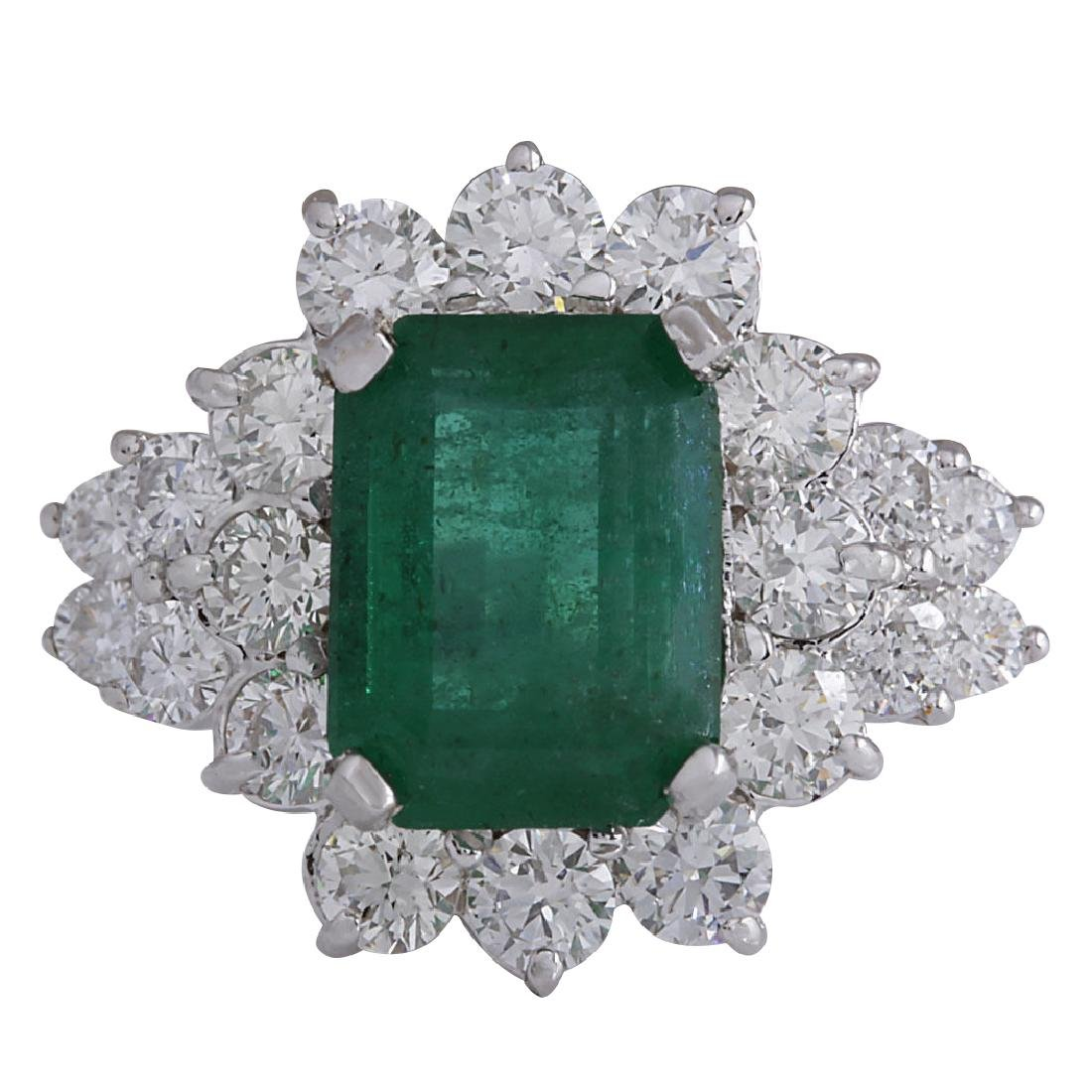 4.58CTW Natural Emerald And Diamond Ring 18K Solid