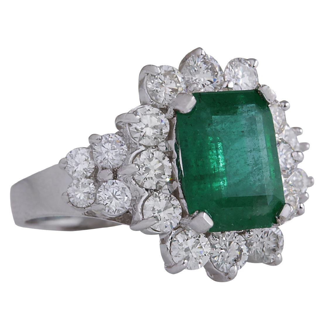 4.58CTW Natural Emerald And Diamond Ring 18K Solid - 2