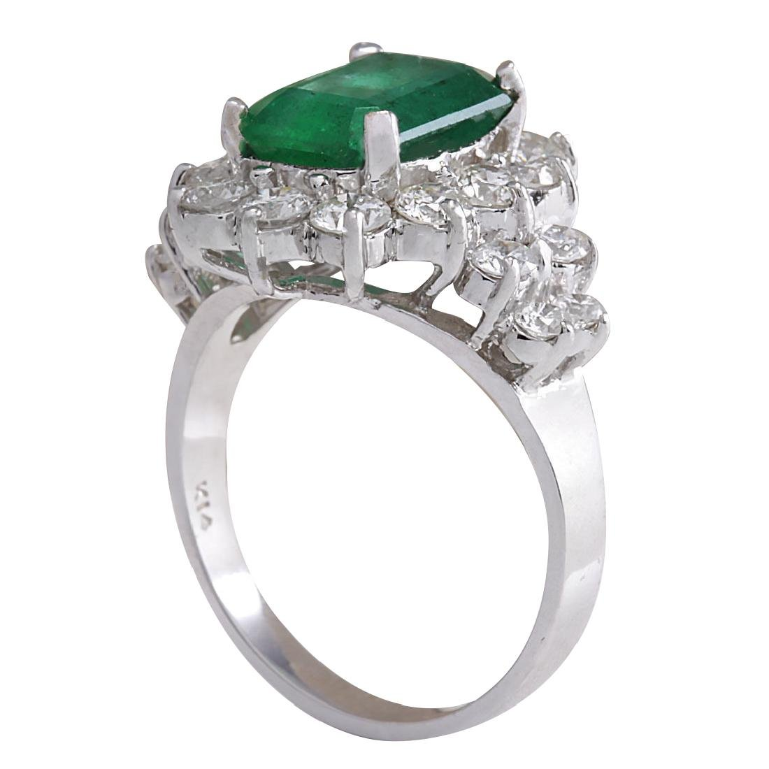 4.58CTW Natural Emerald And Diamond Ring 18K Solid - 3
