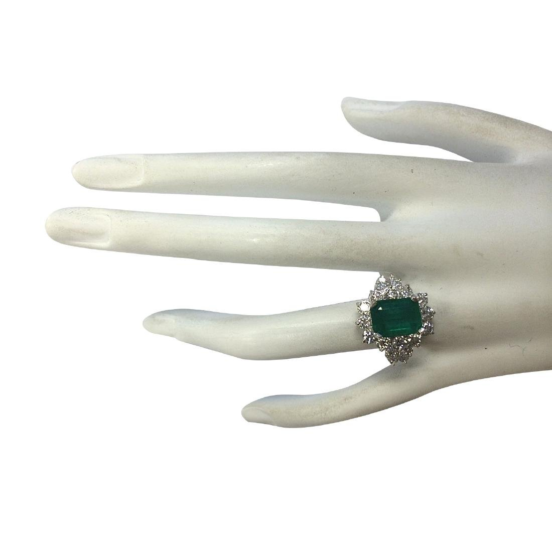 4.58CTW Natural Emerald And Diamond Ring 18K Solid - 4