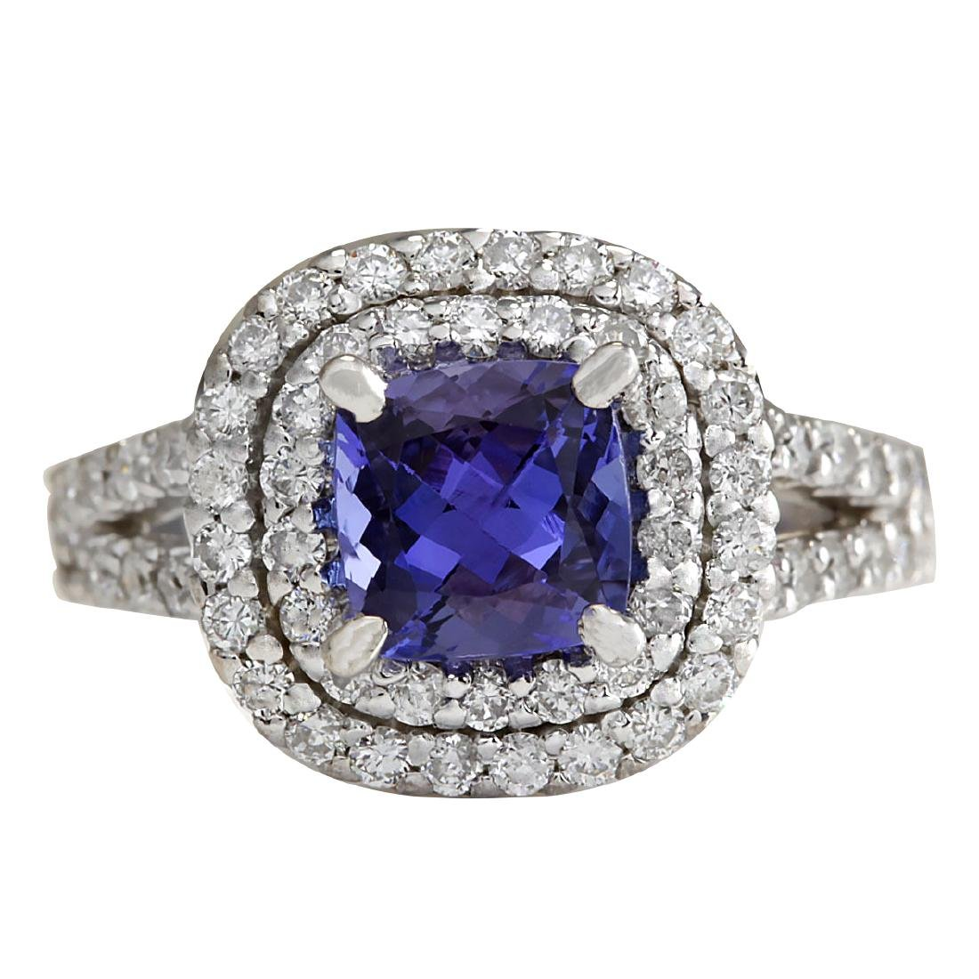 2.68 CTW Natural Blue Tanzanite And Diamond Ring In 18K
