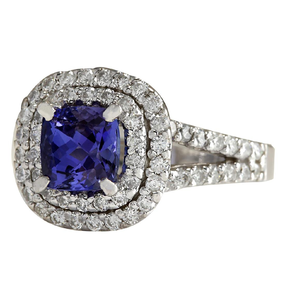2.68 CTW Natural Blue Tanzanite And Diamond Ring In 18K - 2