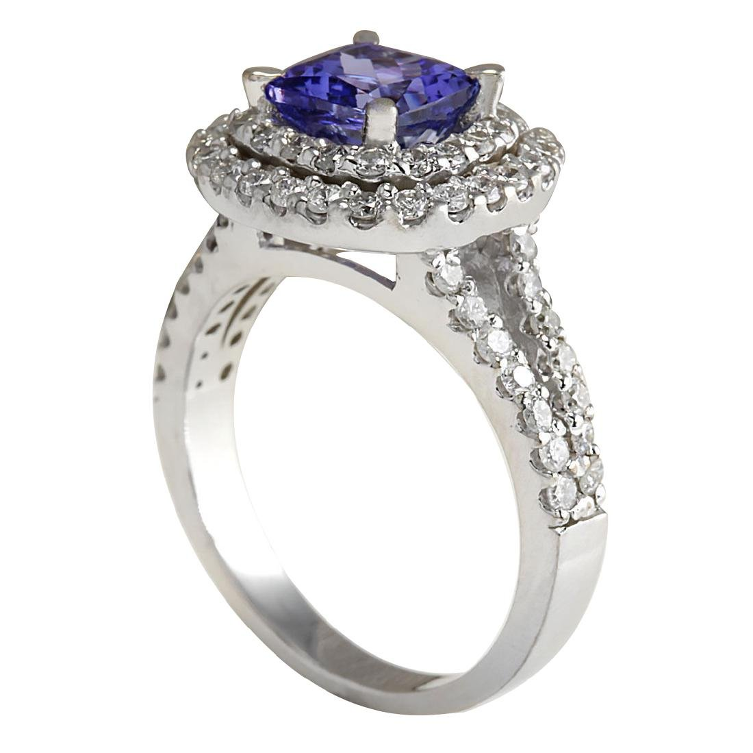 2.68 CTW Natural Blue Tanzanite And Diamond Ring In 18K - 3
