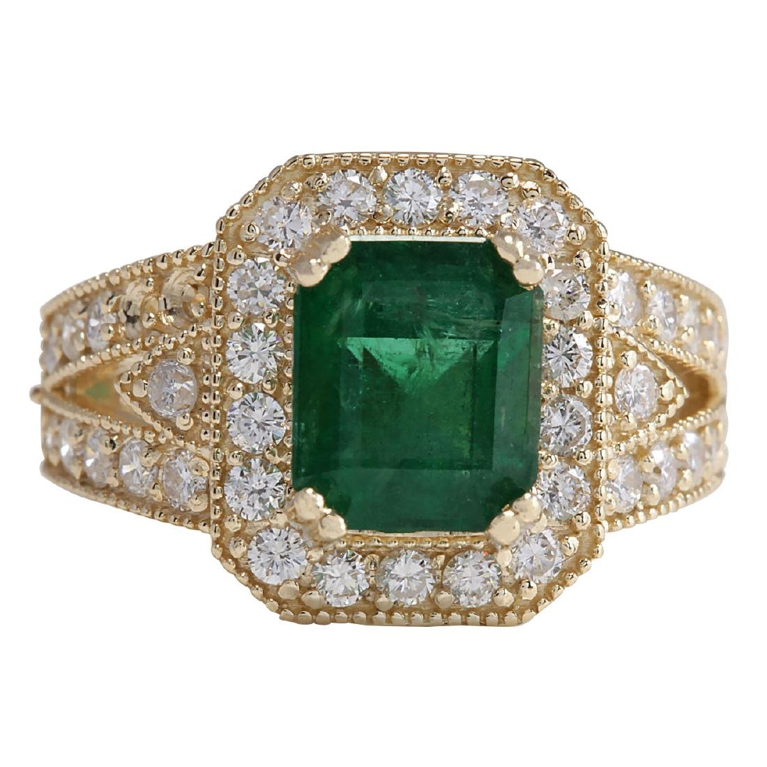 3.96CTW Natural Emerald And Diamond Ring 18K Solid