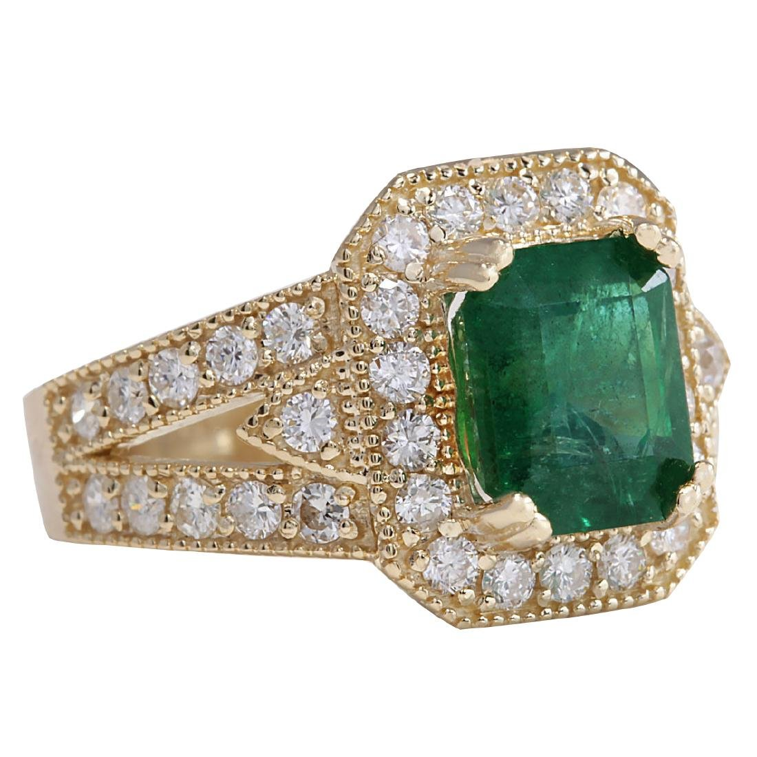 3.96CTW Natural Emerald And Diamond Ring 18K Solid - 2