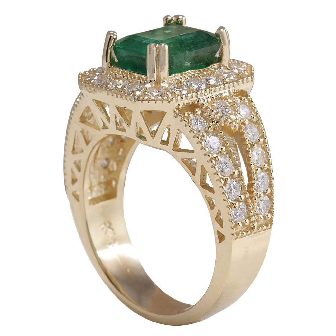 3.96CTW Natural Emerald And Diamond Ring 18K Solid - 3