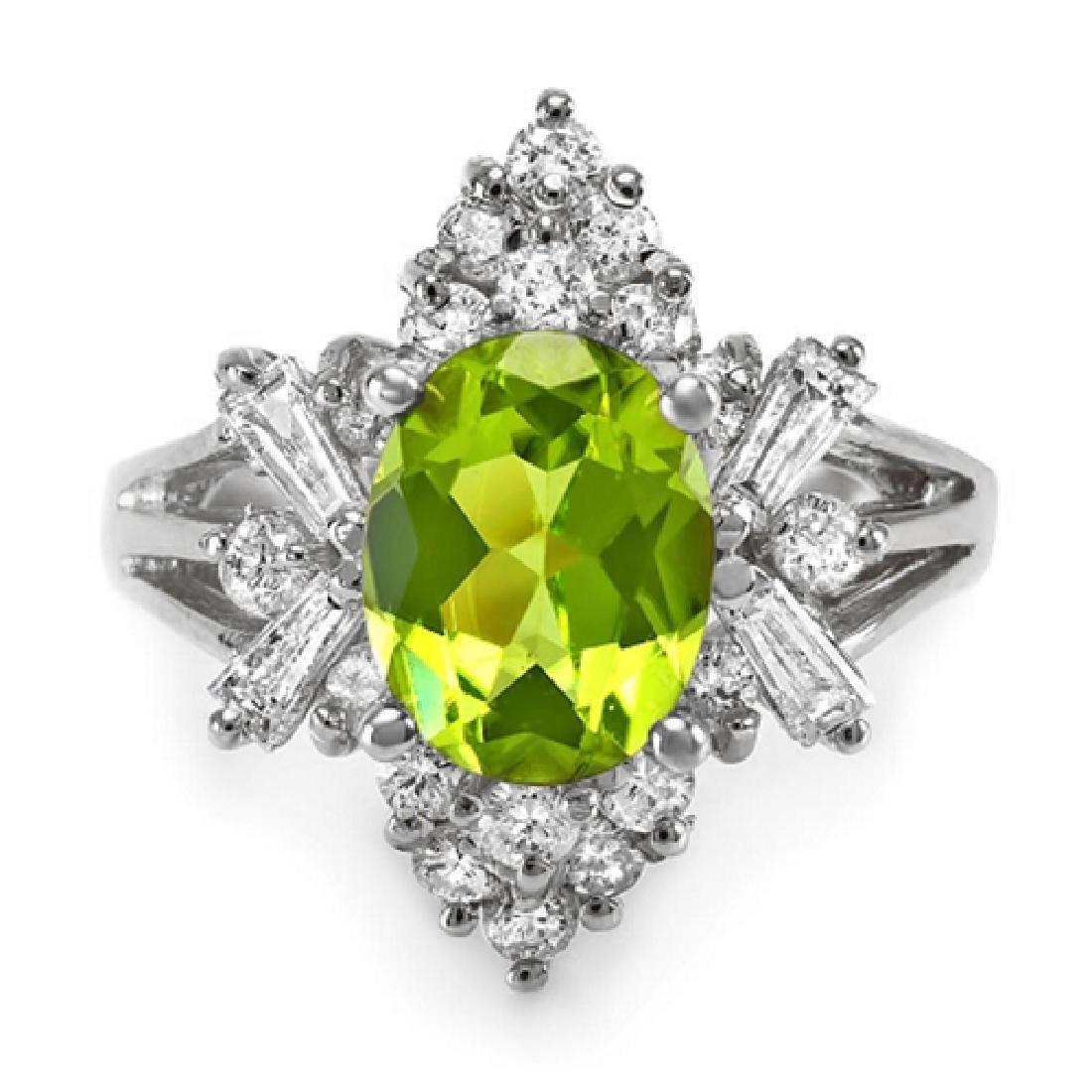 2.80Carat Natural Peridot 18K Solid White Gold Diamond