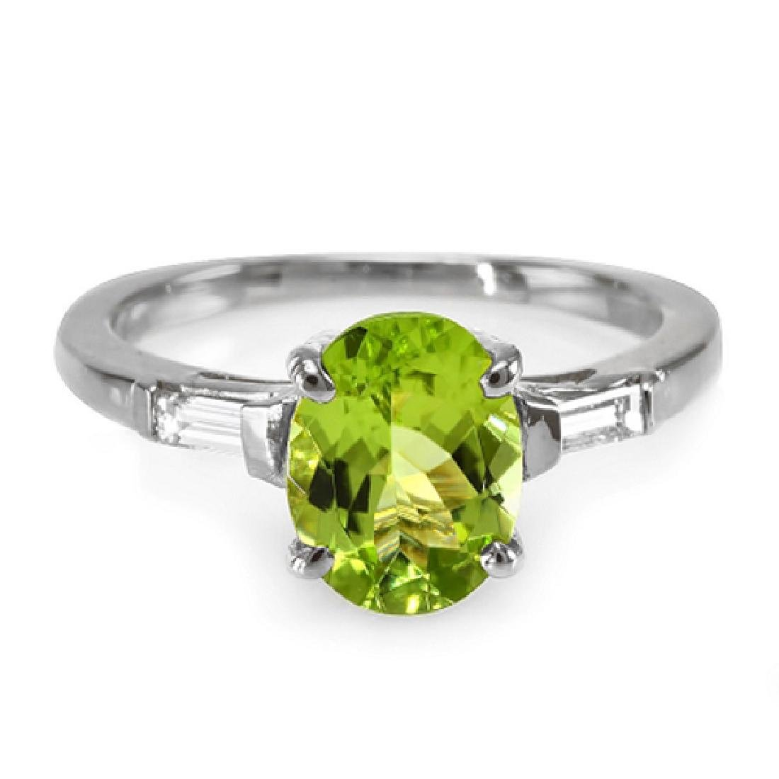 2.16 Carat Natural Peridot 18K Solid White Gold Diamond