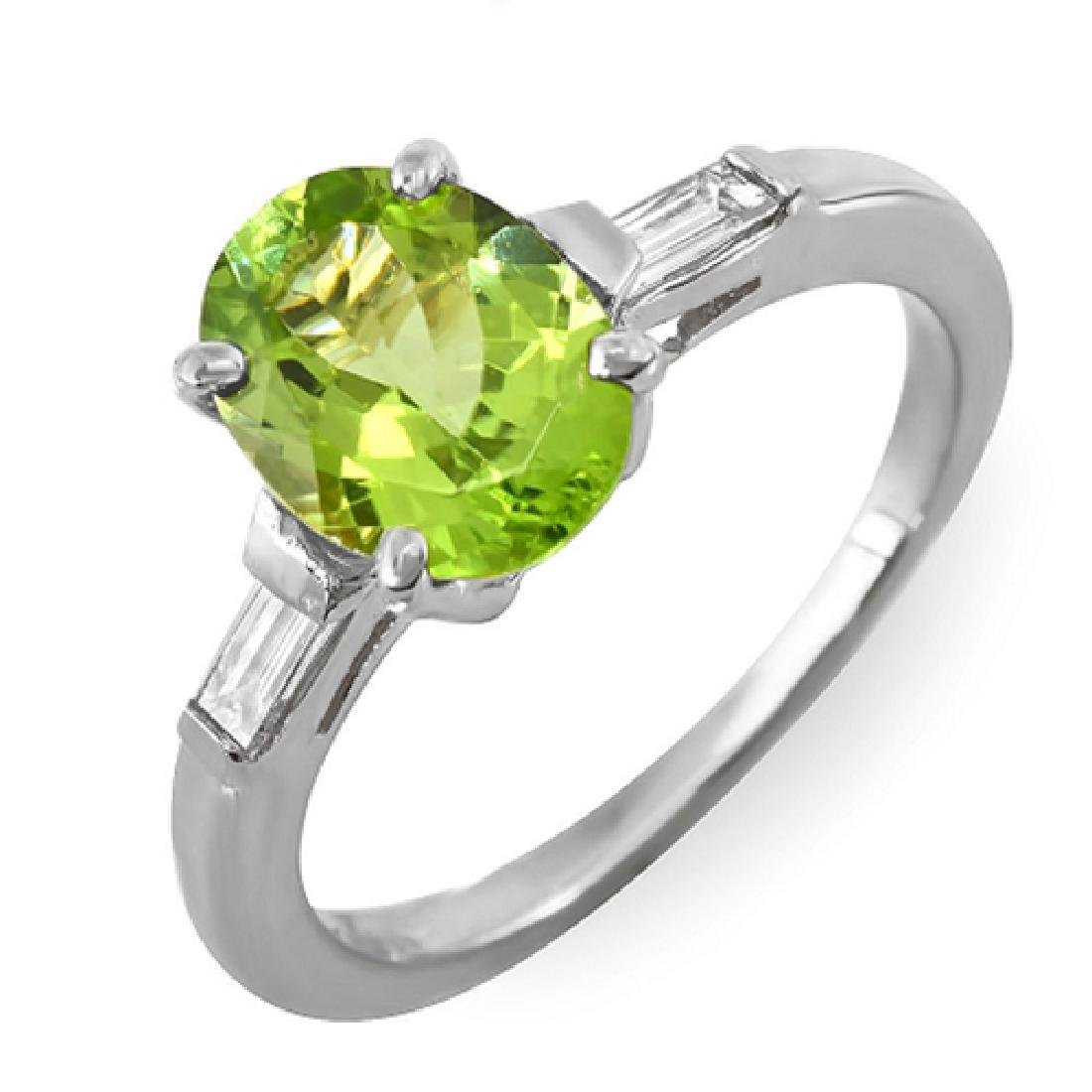 2.16 Carat Natural Peridot 18K Solid White Gold Diamond - 2