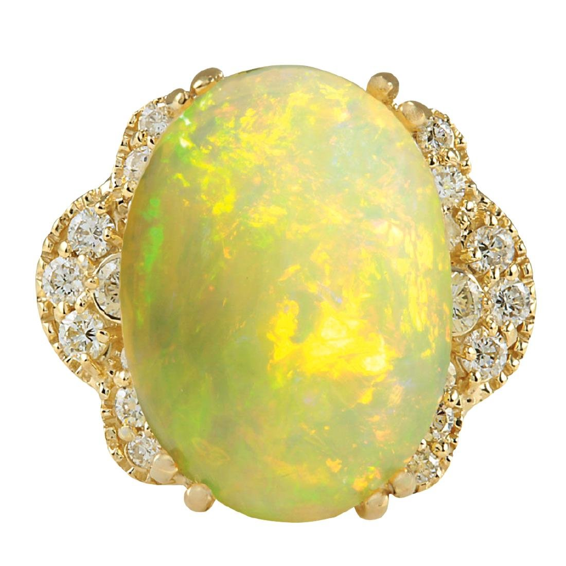 5.84CTW Natural Opal And Diamond Ring In 18K Yellow