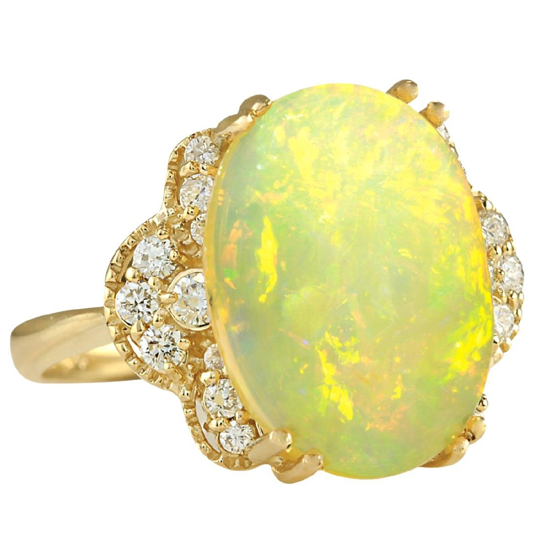 5.84CTW Natural Opal And Diamond Ring In 18K Yellow - 2