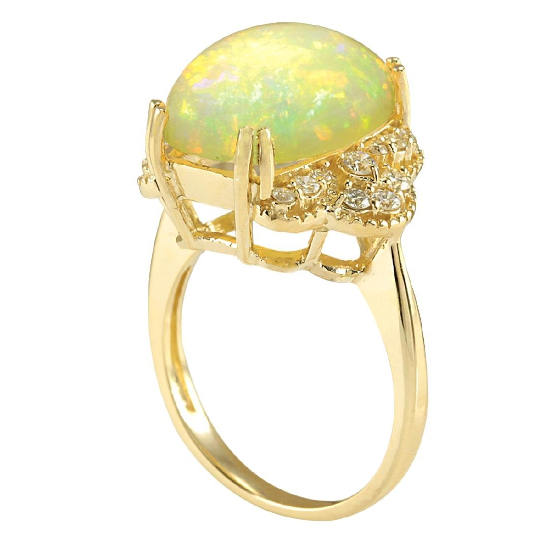 5.84CTW Natural Opal And Diamond Ring In 18K Yellow - 3