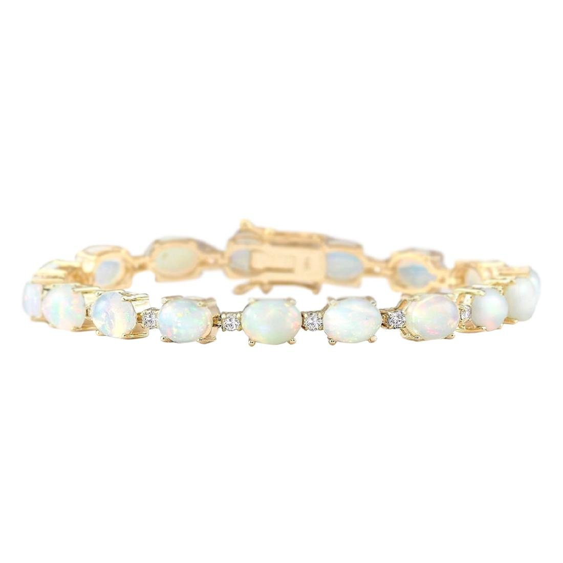 13.80 CTW Natural Opal And Diamond Bracelet In 18K