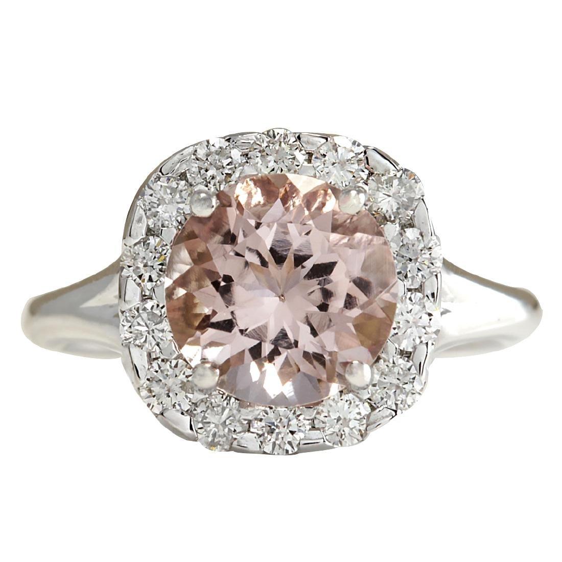 3.19CTW Natural Peach Morganite And Diamond Ring In 18K