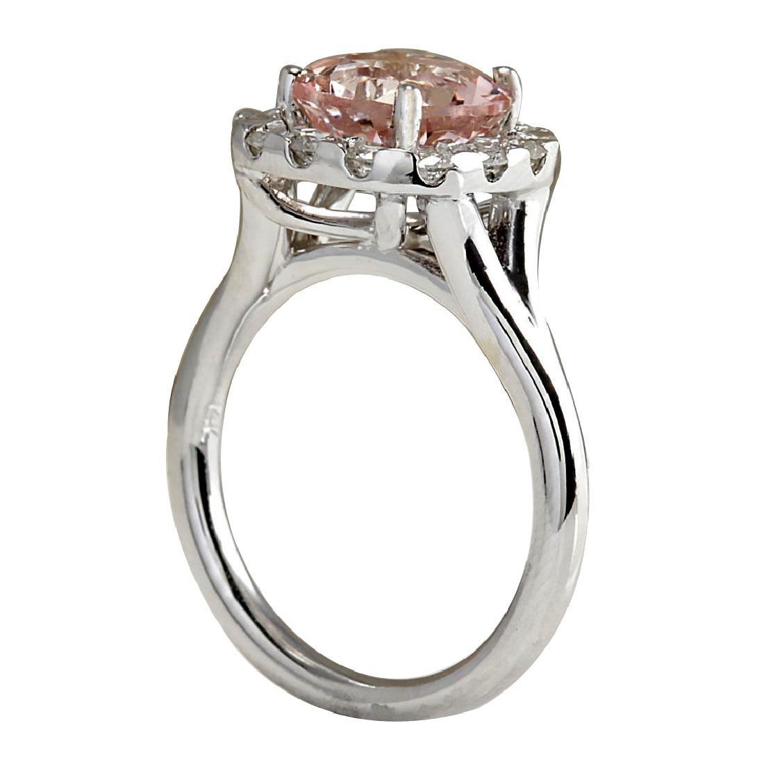 3.19CTW Natural Peach Morganite And Diamond Ring In 18K - 3